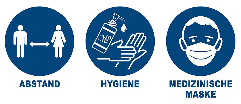 Abstand - Hygiene - medizinische Maske